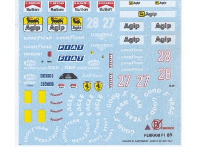 Decal Ferrari #27 - 28 Formula 1 G. Berger / N. Mansell 1989 - Scala 1:24