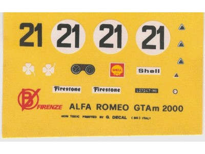 Decal Alfa Romeo GTA m 2000 # 21 Monza 1972 - scala 1:43