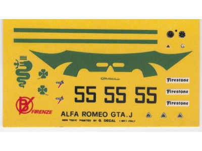 Decal Alfa Romeo GTA J 1300 # 55 Monza 1972 - scala 1:43