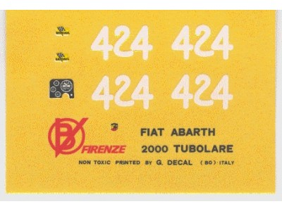 Decal Fiat Abarth 2000 SP Tubolare # 424 Campionato Montagna 1966 - scala 1:43