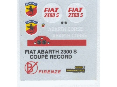 Decal Fiat Abarth 2300 S Coupè Record 1963 - scala 1:43