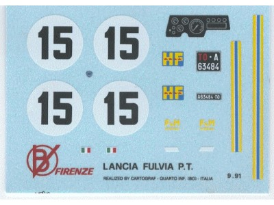 Decal Lancia Fulvia F & M # 15 Mugello 1969 - scala 1:43