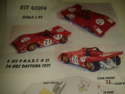 Kit Ferrari 312 P 24 Hrs Daytona 1971 # 21 NART Racing Team - Resin Kit 1:43