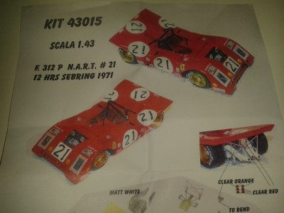 Kit Ferrari 312 P 12 Hrs Sebring 1971 # 21 NART Racing Team - Resin Kit 1:43