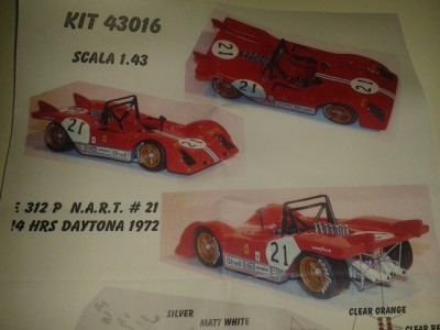 Kit Ferrari 312 P 24 Hrs Daytona 1972 # 21 NART Racing Team - Resin Kit 1:43