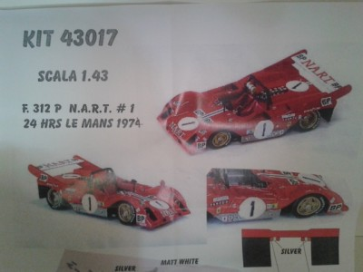 Kit Ferrari 312 P 24 Hrs Le Mans 1974 # 1 NART Racing Team - Resin Kit 1:43