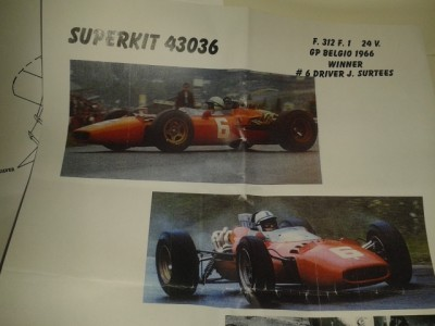 Super Kit Ferrari 312 Formula 1 24V Firestone Gp Belgio 1966 # 6 J. Surtees - Winner - Metal Kit 1:43